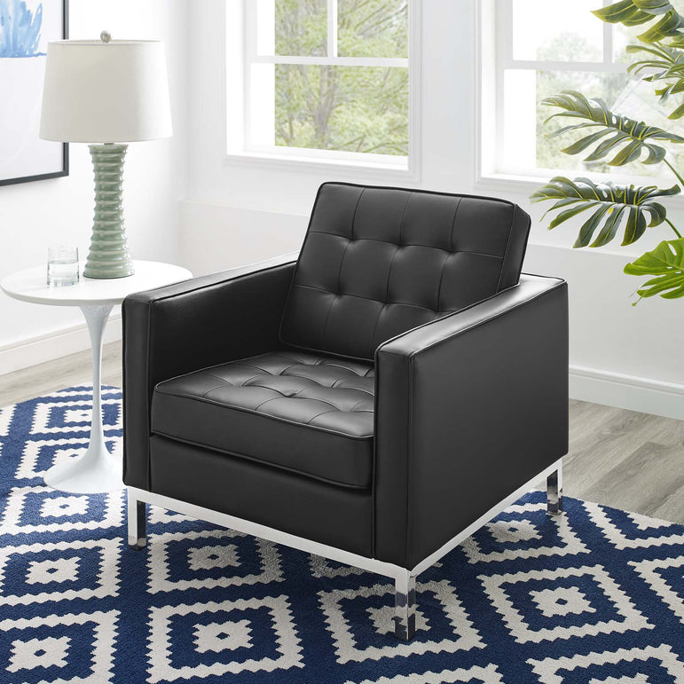 Loft Tufted Upholstered Faux Leather Armchair