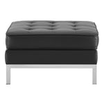 Loft Tufted Upholstered Faux Leather Ottoman