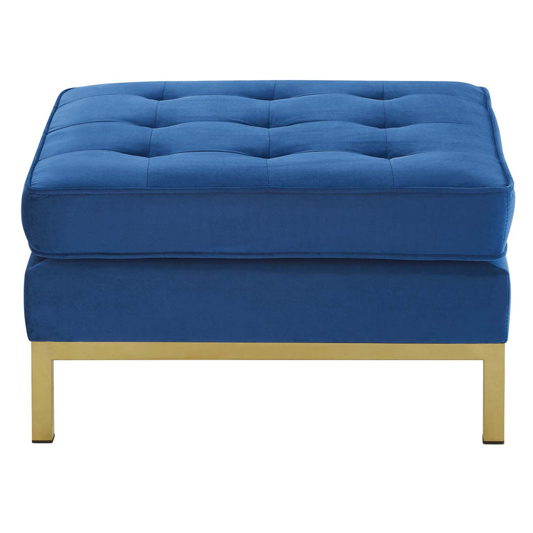 Loft Gold Stainless Steel Leg Performance Velvet Ottoman
