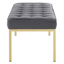 Loft Gold Stainless Steel Leg Large Performance Velvet Bench