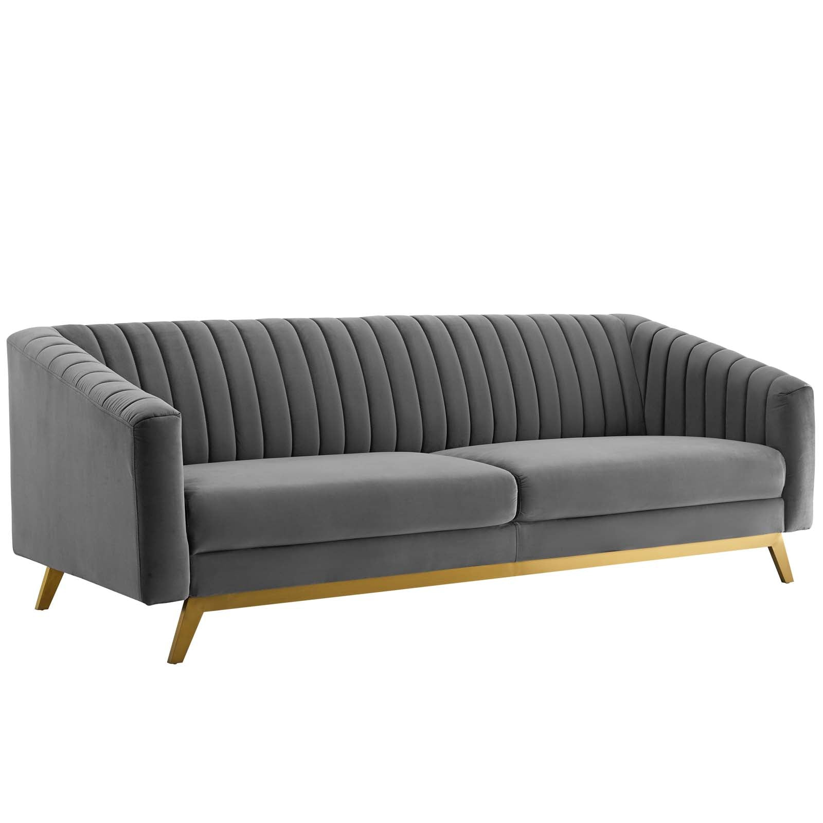 Valiant Vertical Channel Tufted Performance Velvet Sofa