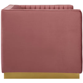 Sanguine Vertical Channel Tufted Accent Performance Velvet Armchair
