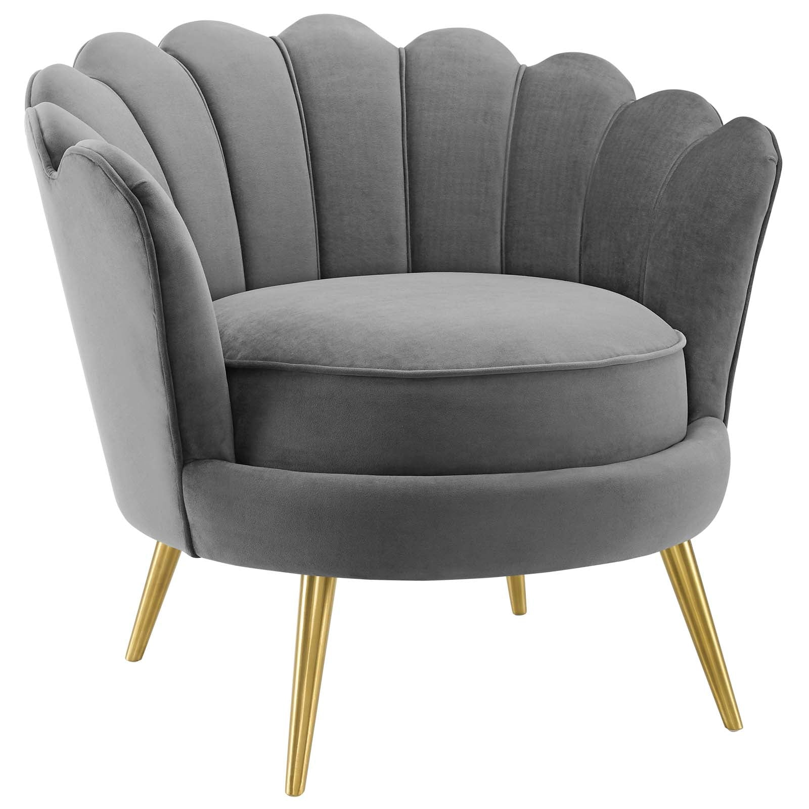 Admire Scalloped Edge Performance Velvet Accent Armchair