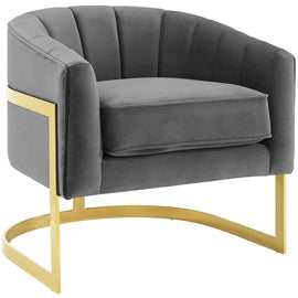 Esteem Vertical Channel Tufted Performance Velvet Accent Armchair