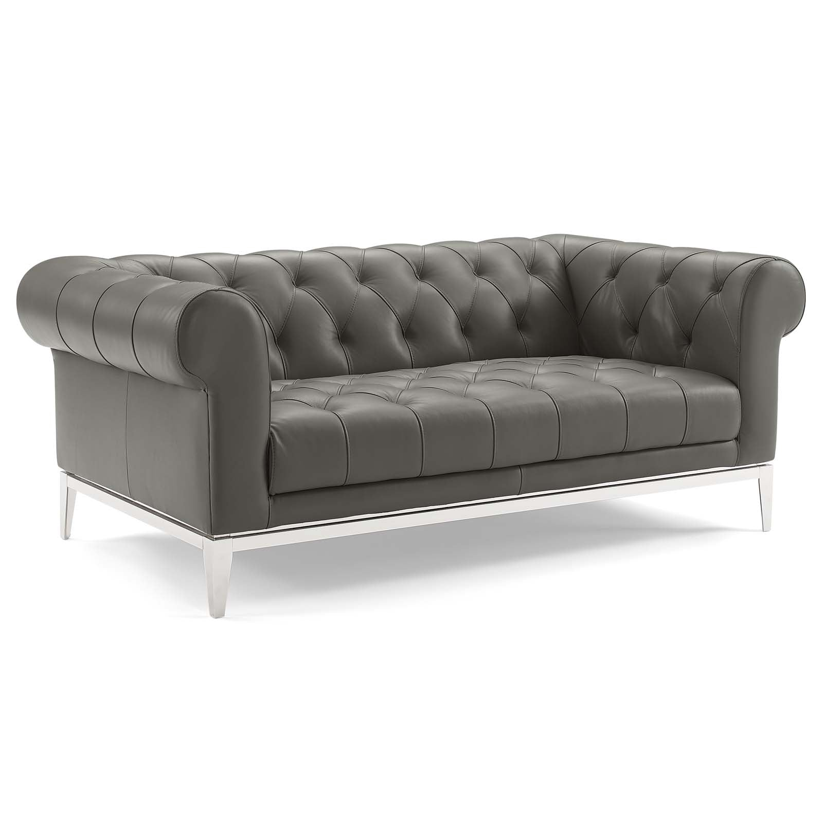 Idyll Tufted Button Upholstered Leather Chesterfield Loveseat