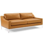 "Harness 83.5"" Stainless Steel Base Leather Sofa"