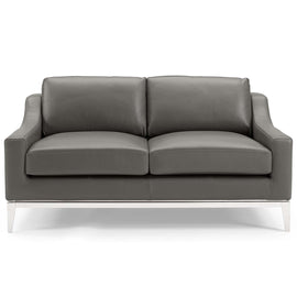 "Harness 64"" Stainless Steel Base Leather Loveseat"