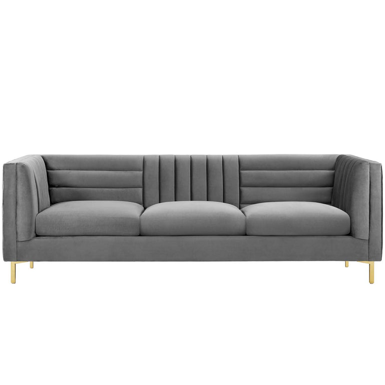 Ingenuity Channel Tufted Performance Velvet Sofa