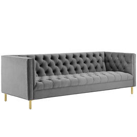 Delight Tufted Button Performance Velvet Sofa