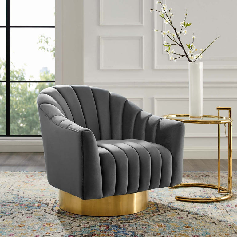 Buoyant Vertical Channel Tufted Accent Lounge Performance Velvet Swivel Chair