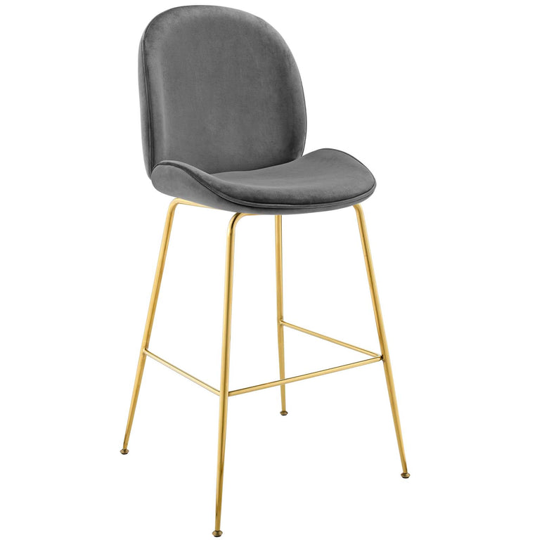 Scoop Gold Stainless Steel Leg Performance Velvet Bar Stool