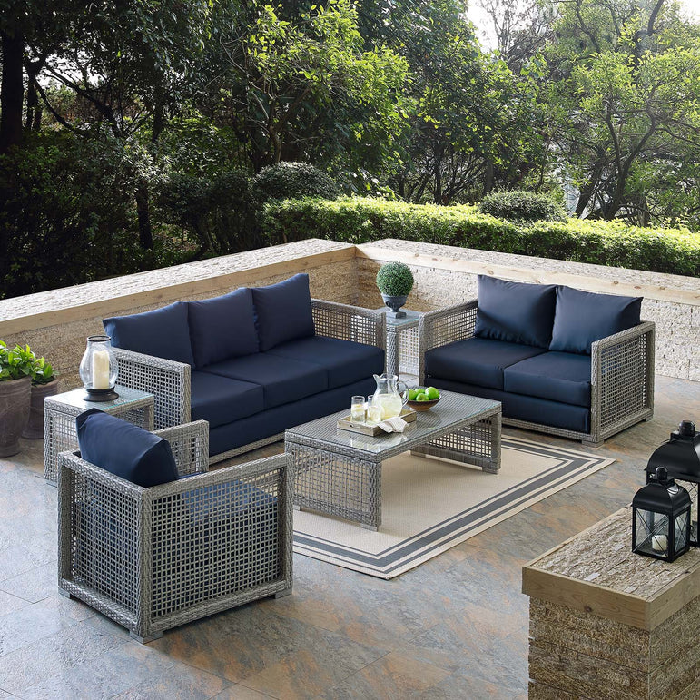 Aura 6 Piece Outdoor Patio Wicker Rattan Set