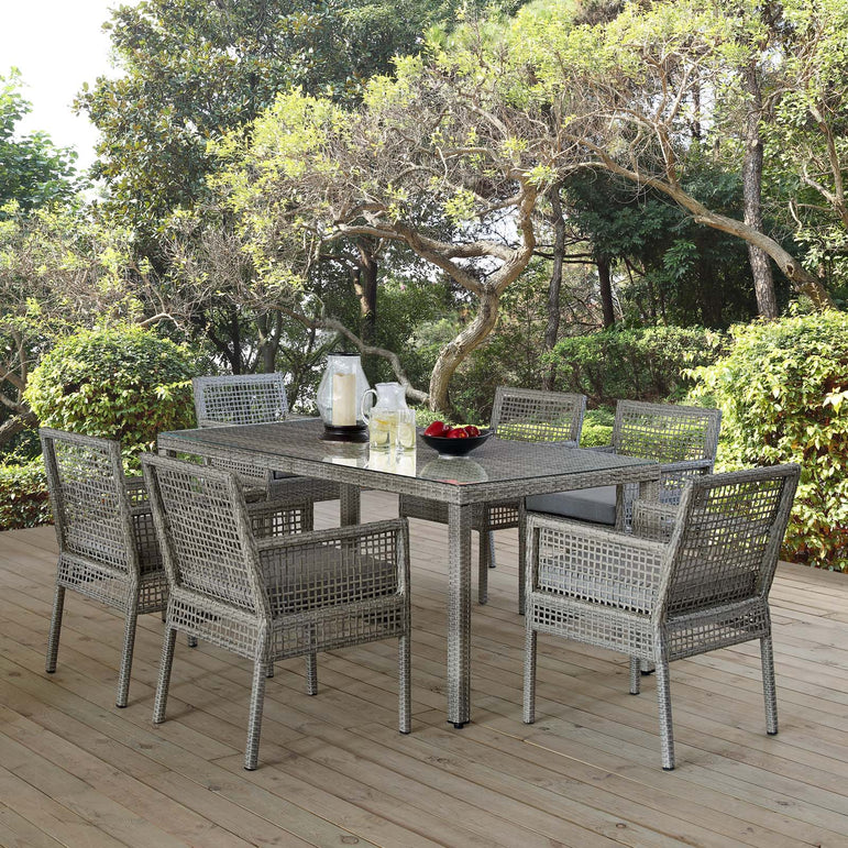 Aura 7 Piece Outdoor Patio Wicker Rattan Set