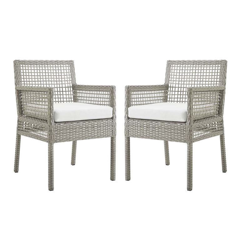 Aura Dining Armchair Outdoor Patio Wicker Rattan Set of 2