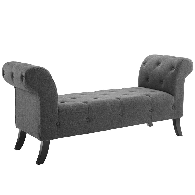 Evince Button Tufted Accent Upholstered Fabric Bench