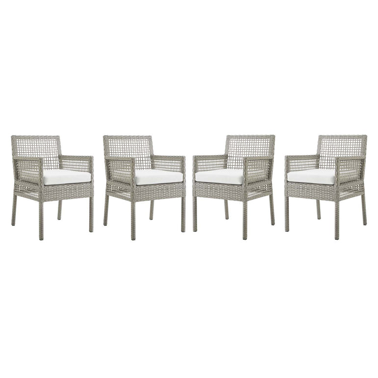 Aura Dining Armchair Outdoor Patio Wicker Rattan Set of 4