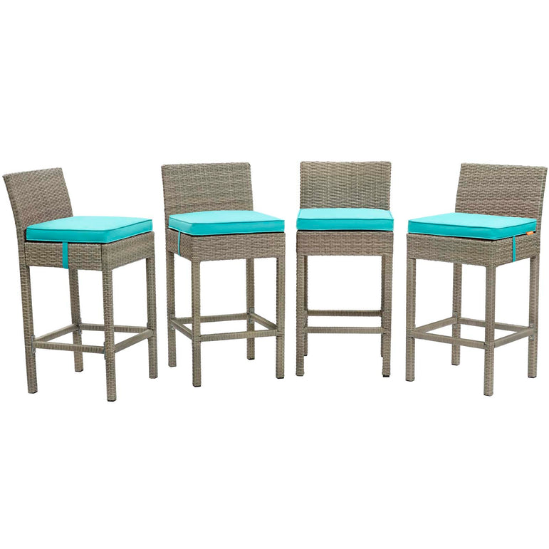 Conduit Bar Stool Outdoor Patio Wicker Rattan Set of 4