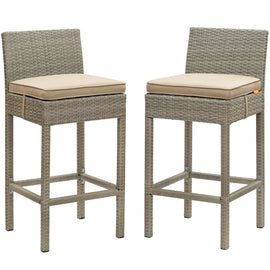 Conduit Bar Stool Outdoor Patio Wicker Rattan Set of 2