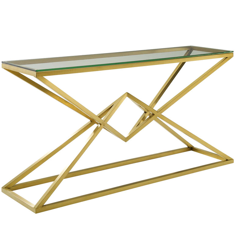 "Point 59"" Brushed Gold Metal Stainless Steel Console Table"