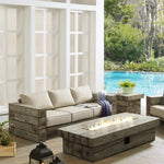 Manteo Rustic Coastal Outdoor Patio Sofa and Fire Pit Set
