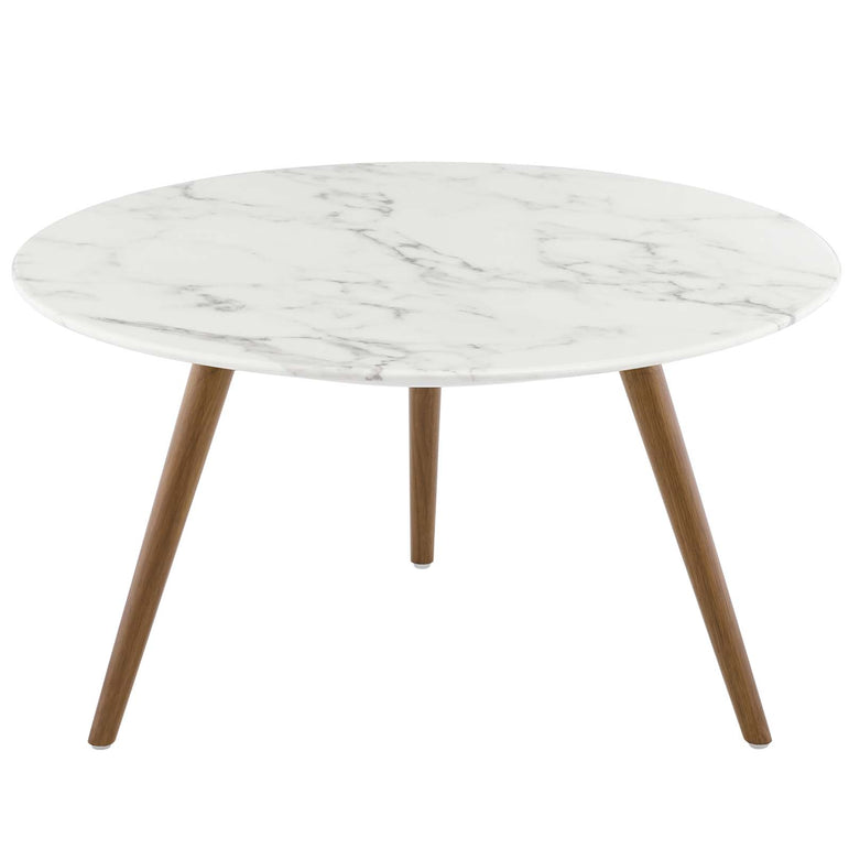 "Lippa 28"" Round Artificial Marble Coffee Table with Tripod Base"