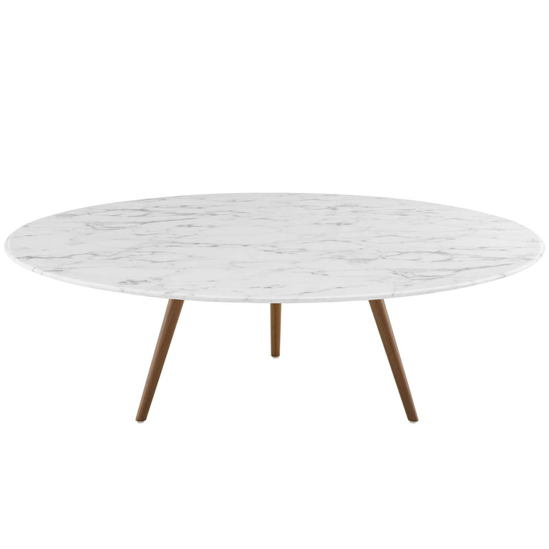 "Lippa 47"" Round Artificial Marble Coffee Table with Tripod Base"
