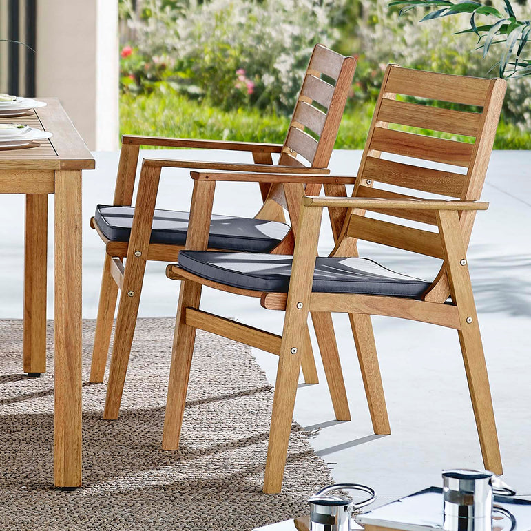 Syracuse Outdoor Patio Eucalyptus Wood Dining Chair Set of 2