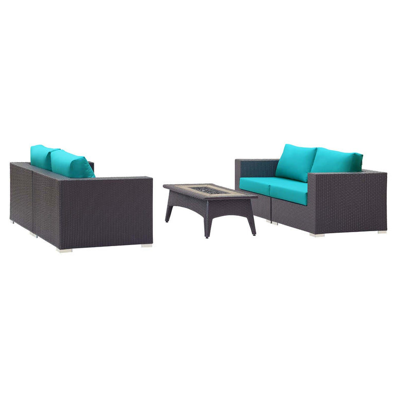 Convene 5 Piece Set Outdoor Patio with Fire Pit
