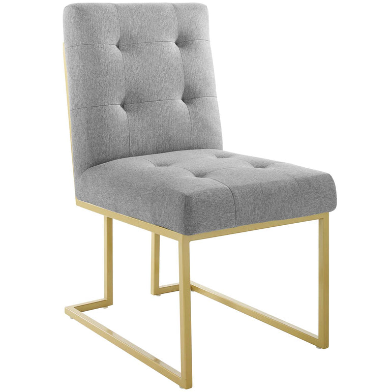 Privy Gold Stainless Steel Upholstered Fabric Dining Accent Chair