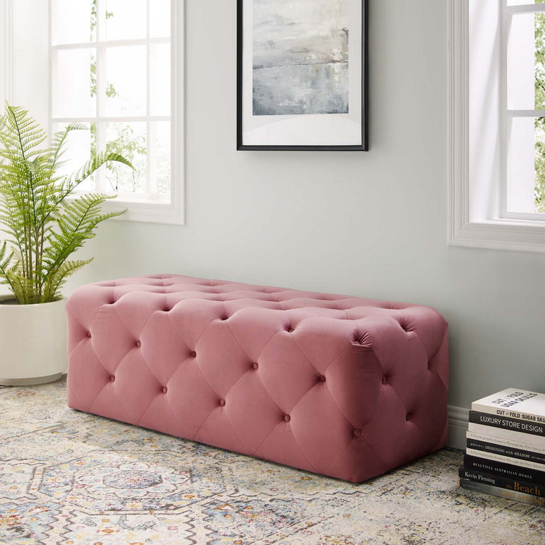 Dusty Rose Modway EEI-3768-DUS Anthem 48 Tufted Button Entryway Performance Velvet Bench