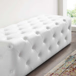 "Anthem 60"" Tufted Button Entryway Faux Leather Bench"