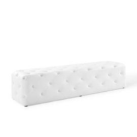 "Anthem 72"" Tufted Button Entryway Faux Leather Bench"