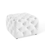 Anthem Tufted Button Square Faux Leather Ottoman