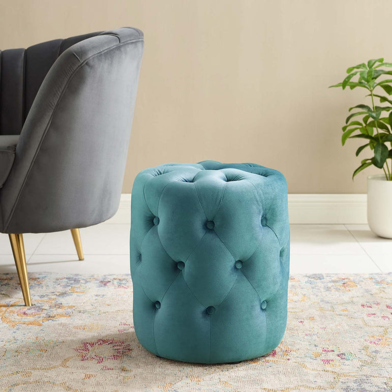 Anthem Tufted Button Round Performance Velvet Ottoman