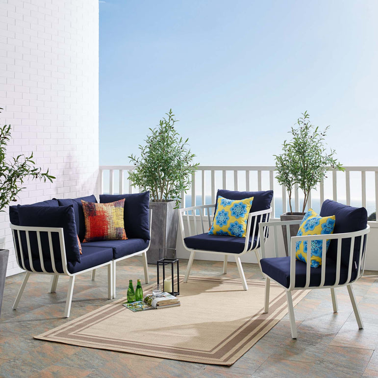 Riverside 4 Piece Outdoor Patio Aluminum Set