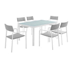 Raleigh 7 Piece Outdoor Patio Aluminum Dining Set