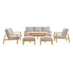 Orlean 6 Piece Outdoor Patio Eucalyptus Wood Set