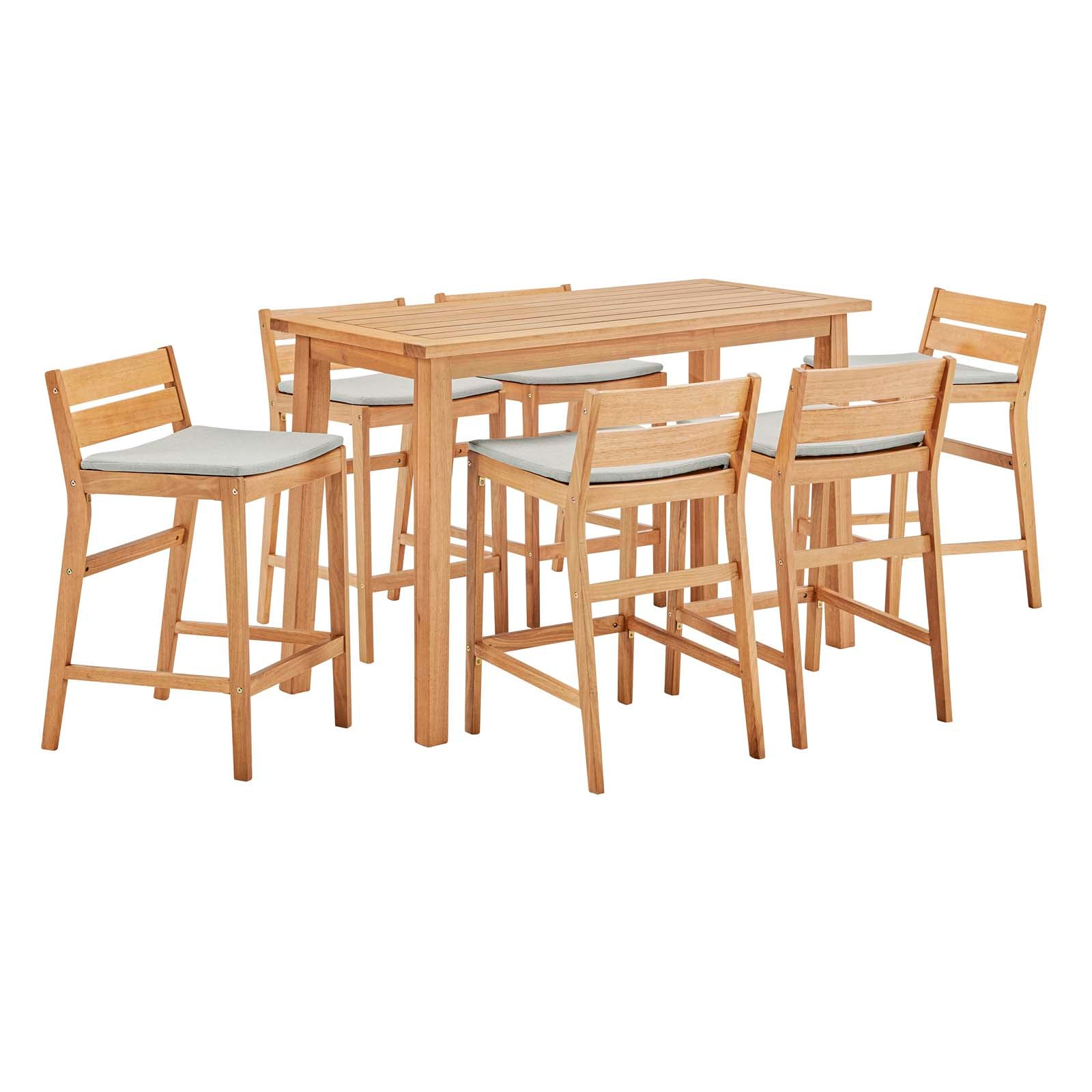 Riverlake 7 Piece Outdoor Patio Ash Wood Bar Set