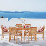 Farmstay 7 Piece Outdoor Patio Teak Wood Dining Set