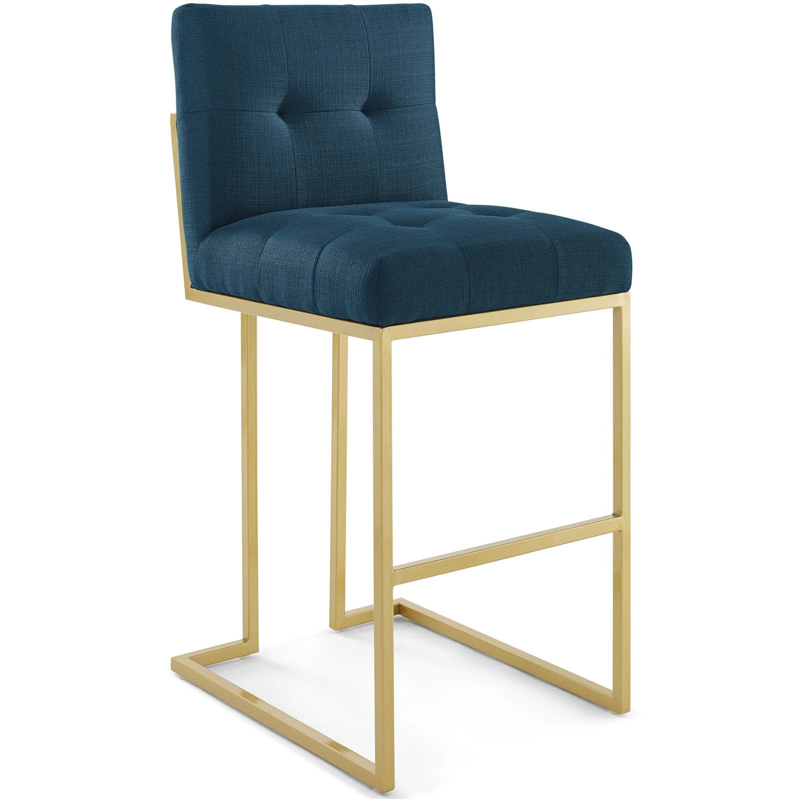 Privy Gold Stainless Steel Upholstered Fabric Bar Stool
