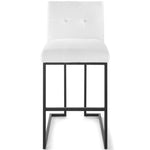 Privy Black Stainless Steel Upholstered Fabric Bar Stool