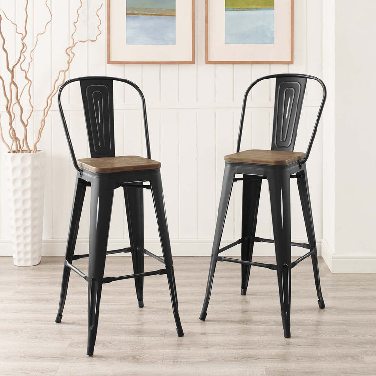 Promenade Bar Stool Metal Set of 2