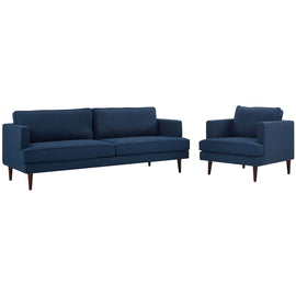 Agile Upholstered Fabric Sofa and Armchair Set