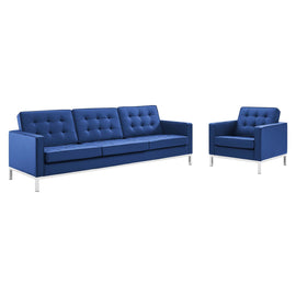 Loft Tufted Upholstered Faux Leather Sofa and Armchair Set
