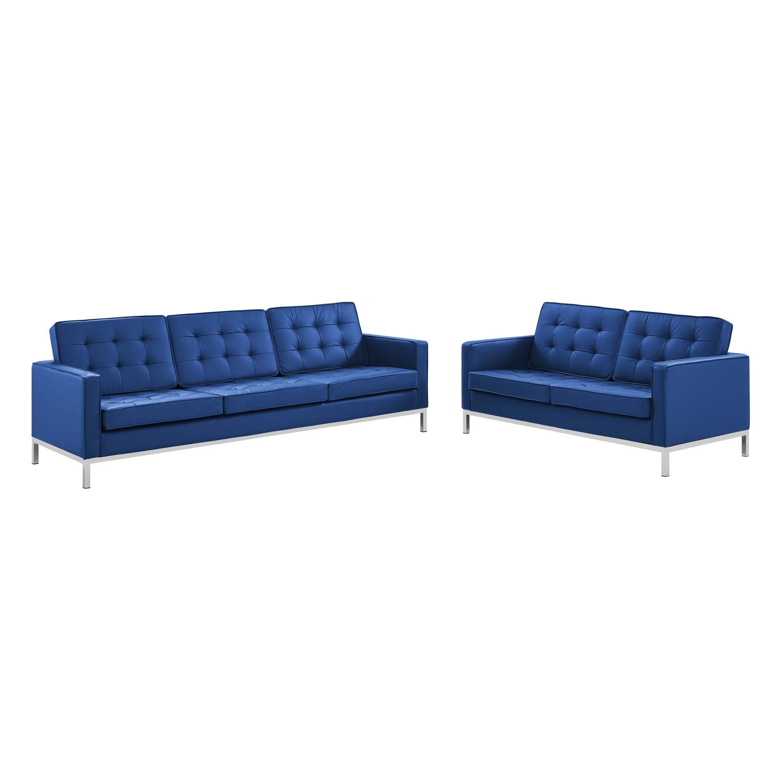 Loft Tufted Upholstered Faux Leather Sofa and Loveseat Set