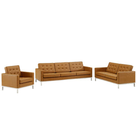 Loft Tufted Upholstered Faux Leather 3 Piece Set