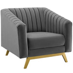 Valiant Vertical Channel Tufted Performance Velvet Sofa and Armchair Set