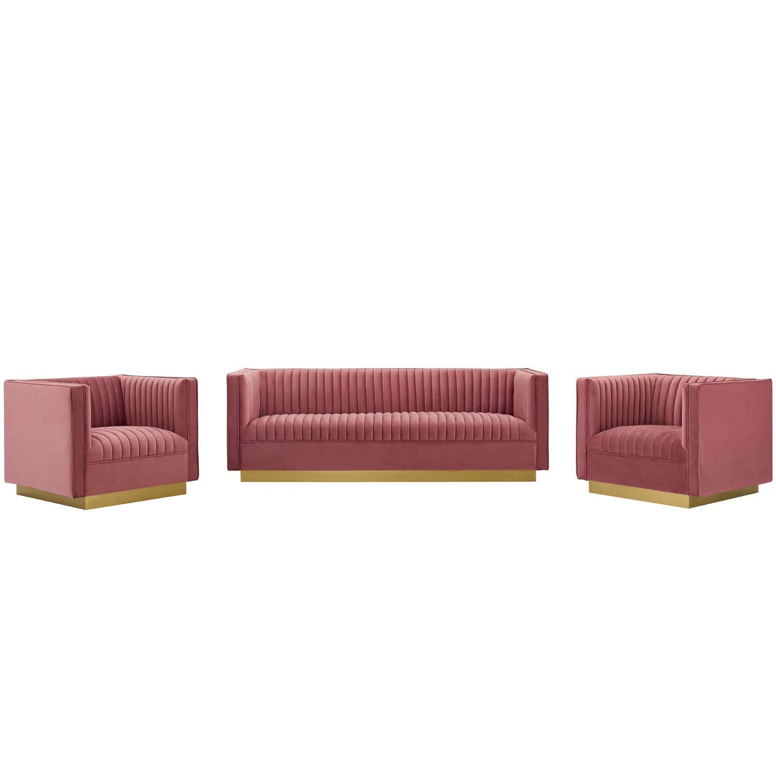 Sanguine 3 Piece Vertical Channel Tufted Upholstered Performance Velvet Set