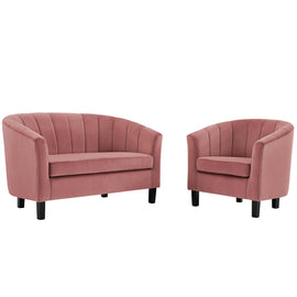 Prospect Channel Tufted Performance Velvet Loveseat and Armchair Set