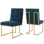 Privy Gold Stainless Steel Upholstered Fabric Dining Accent Chair Set of 2